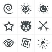 Tribal  Icons Set, Vector Design Stock Illustration