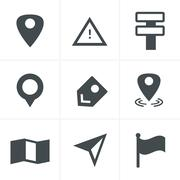 Map icons on white background. GPS and Navigation, Vector Design Stock Illustration