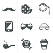 Stock Illustration of Hipster retro vintage elements modern icon set. Vector file in layers for eas