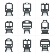 Set of transport icons - Train and Tram, vector illustration Piirros