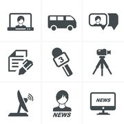 News reporter icons set. Stock Illustration