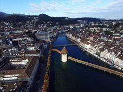 Aerial View, Lucerne and water tower, Switzerland Stock Photos