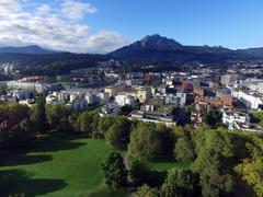 Aerial View, green park in Lucerne, Switzerland - stock photo