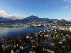 Stock Photo of Aerial View, Lucerne and Mount Pilatus, Switzerland