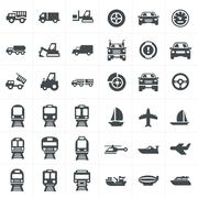 Stock Illustration of vector black transport icons set on gray