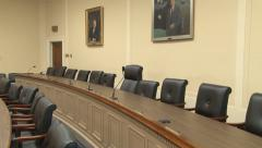 (1 of 2) tilt of Congressional hearing room (Science and Tech Committee) Stock Footage
