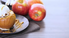 Organic baked apples served with vanilla ice cream. Stock Footage