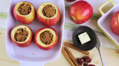Stock Video Footage of Ready to be baked organic apples with pecans and raisins.