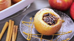 Ready to be baked organic apples with pecans and raisins. Stock Footage