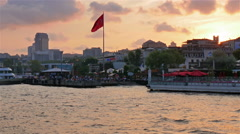 Istanbul skyline galatasaray quarter as seen from the river Stock Footage