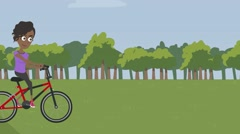 Funny animated cartoon girl riding a bicycle in a forest outing on a bicycle Stock Footage