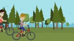 Animated cartoon, a woman and a man riding a bike on a forest Stock Footage