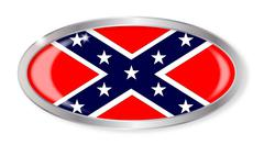 Confederate Flag Oval Button - stock illustration