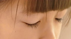 Close up of open girl's eyes - stock footage