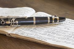 Clarinet and musical score - stock photo