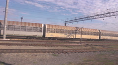 Railcars in a panoramic view can be considered  as a nice background - stock footage