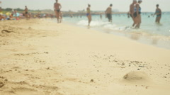 Footprints in the sand. Stock Footage