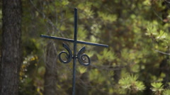 Ancient spanish iron cross in a road of a village of andalusia Stock Footage