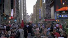 Crowd people tourists Times Square NYC New York City day Stock Footage