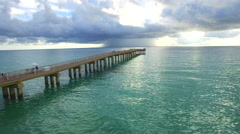 Aerial Sunny Isles Beach fishing pier Stock Footage