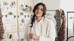 Small business startup fashion designer portrait - stock footage