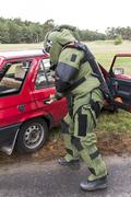 Police explosives expert in action Stock Photos