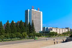 The house on the street of Pyongyang, North Korea - stock photo