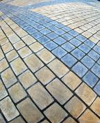 Top view of the pavement of rectangular stones - stock photo