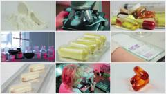 Split screen close up rotation of many colored pils, tablets, capsuls and lab. Stock Footage