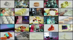 Split screen close up rotation of many colored pils, tablets, lab and doctors. Stock Footage