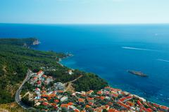 The picturesque panorama of the Adriatic coast near the town Sveti Stefan, Mo - stock photo