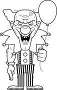 Cartoon Evil Clown - stock illustration