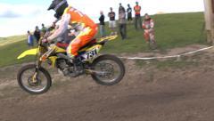 Multi rider jump motocross in slow motion Stock Footage