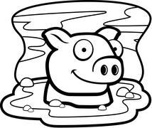 Pig Mud Stock Illustration
