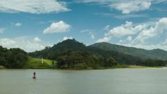 Scenic Panama Canal Sailing Through Gatun Lake Stock Footage