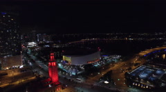 Aerial video Downtown Miami night 9 Stock Footage
