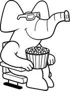 Cartoon Elephant 3D Movies - stock illustration