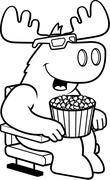 Cartoon Moose 3D Movies - stock illustration