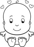 Cartoon Naked Baby - stock illustration