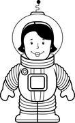 Woman Astronaut Stock Illustration
