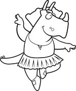 Dinosaur Ballerina - stock illustration