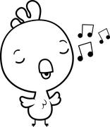 Cartoon Baby Rooster Singing - stock illustration