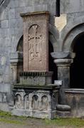 Khachkar (stone cross) at medieval christian Sanahin Monastery complex,unesco Stock Photos