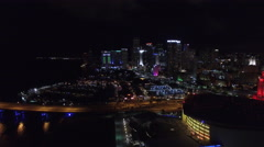 Aerial video Downtown Miami night 3 Stock Footage