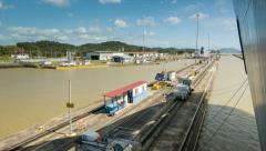 Ship Being Guided Into Locks at the Panama Canal Stock Footage