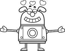 Robot Dog Hugging - stock illustration
