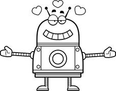 Hugging Red Robot Stock Illustration