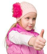 Cute little girl showing ok - stock photo
