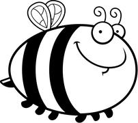 Happy Cartoon Bee - stock illustration