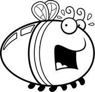 Scared Cartoon Firefly - stock illustration